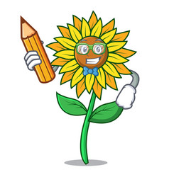 student sunflower character cartoon style vector image