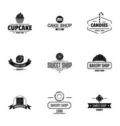 sweet shop logo set simple style vector image