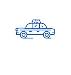 taxi car line icon concept taxi car flat vector image