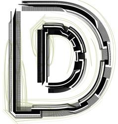Technological font LETTER D vector