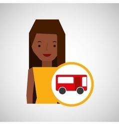traveler girl character bus design graphic vector image