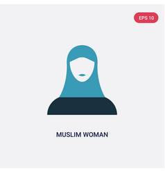 Two color muslim woman icon from user concept vector