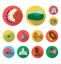 Usa country flat icons in set collection for vector