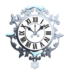 vintage snowy wall clock with ornate dial and vector image