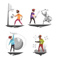 Virtual reality concept 4 icons vector