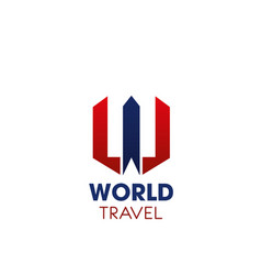 w letter icon for world travel company vector image