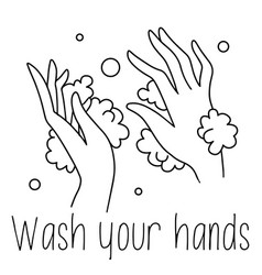 Washing hands line drawing black and white soap vector