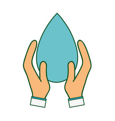 Water drop symbol to environment care in the hands vector