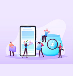 waterproof smartphone concept tiny characters vector image