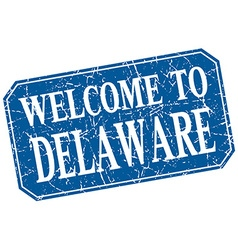 Welcome to Delaware blue square grunge stamp vector