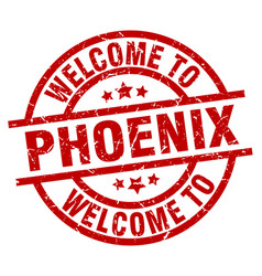 Welcome to phoenix red stamp vector