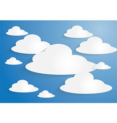White paper clouds on blue sky background vector image