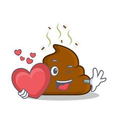 With heart poop emoticon character cartoon vector