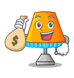 With money bag character table office lamp in vector