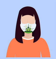 Woman wearing protective face mask with factory vector