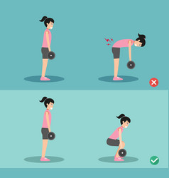 Woman wrong and right deadlift posture vector