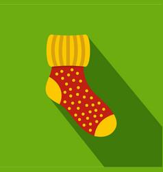 Woolen sock icon flat style vector