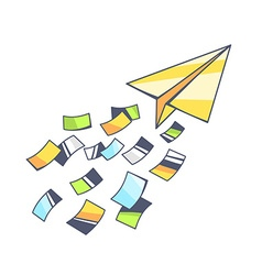 Yellow paper plane and flying color paper vector