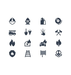 Firefighters icons vector image