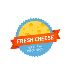 fresh cheese label vector image vector image