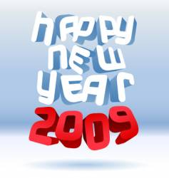 happy 3d new year vector image vector image