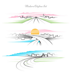 modern linear cityscape set line drawing city and vector image