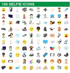 100 selfie icons set cartoon style vector image vector image