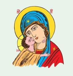 Ave Maria and Child vector image