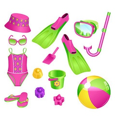 beach accessories for girl vector image vector image