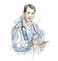 Colored hand sketch Doctors vector image vector image