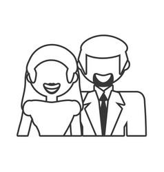 couple relationship family people outline vector image vector image