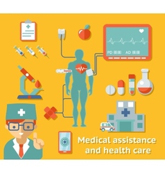 Medical assistance and health care concept vector image