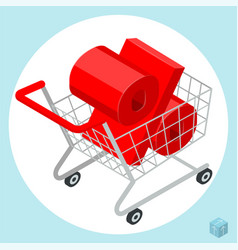 shopping t cart loaded of percent sign vector image