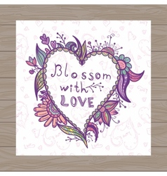Valentine card with heart shape vector image