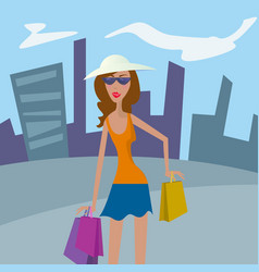 woman shopping happy girl in hat with shopping vector image vector image