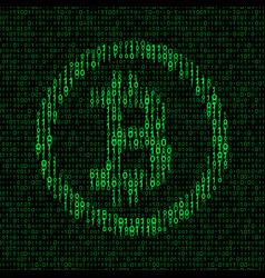 bitcoin symbol binary background vector image vector image