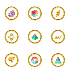business chart icons set cartoon style vector image vector image