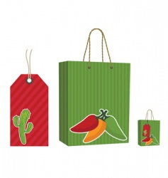 Mexican bag and tag set vector image vector image