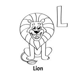 alphabet letter l lion vector image
