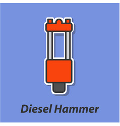 diesel hammer color flat icon vector image