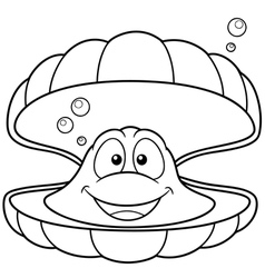 Shell outline vector image vector image
