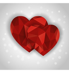 two abstract diamond hearts shape greeting card vector image