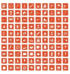 100 coffee icons set grunge orange vector