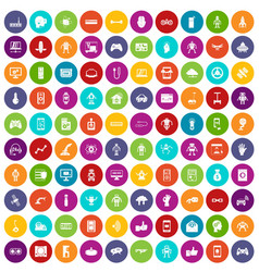 100 robot icons set color vector