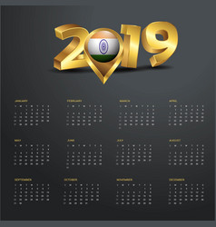 2019 calendar template india country map golden vector