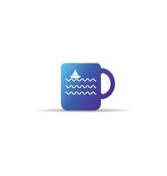 abstract cup icon with sea wave ship boat logo vector image