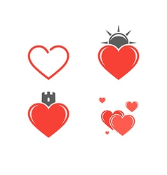 Abstract hearts icon set vector
