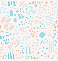 Abstract shapes hand drawn color seamless pattern vector