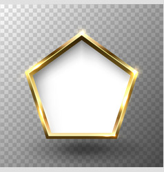 abstract shiny golden pentagon frame with white vector image