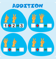 Addition worksheet with fingers vector